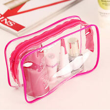 Clear Transparent Plastic PVC Travel Makeup Cosmetic Toiletry Zip Bag Pouch YG