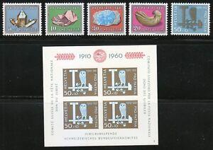 Switzerland 1960 MNH Mi 714-718+Block 17 Sc B292-B297 Minerals & Owl.Fossil. HCV