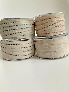 100% Jute Burlap Stitch Ribbon with Woven Edge Floristry Gift Wrapping Christmas