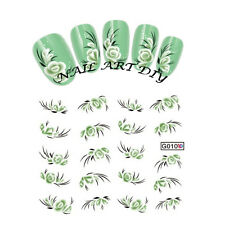 20 nail stickers water transfer-GREEN FLOWERS-tattoo adesivo-FIORI VERDI-Manicur
