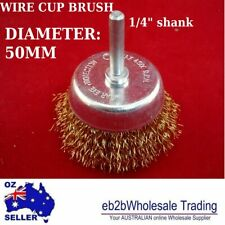 """WIRE CUP BRUSH 50MM Diameter 1/4"""" Shank Rotary Grinder Tools Drill Bits"""