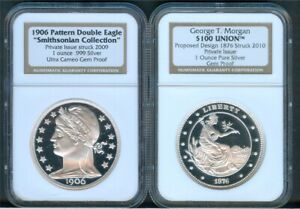 Barber 1906 & Morgan 1876 Pattern .999 Silver Restrikes, NGC Gem Proof