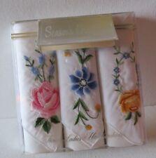 3 Vtg 1958 Hand Stitched Handkerchiefs~ 100% cotton~Nib