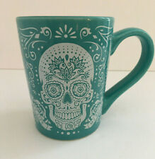 Fisher Stoneware Day of the Dead SUGAR SKULL MUG, My Life My Rules, Teal
