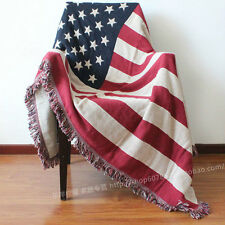 "American Flag Pure Cotton Knitting Throw Blanket Multipurpose Blankets 47"" x 67"""