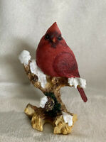 "Red Cardinal On Branch Bird Figurine 5.50"" High Resin Statue Christmas Snow New!"