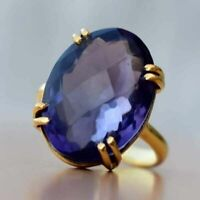 4Ct Oval Cut Tanzanite Solitaire Engagement Wedding Ring in 14K Yellow Gold Over
