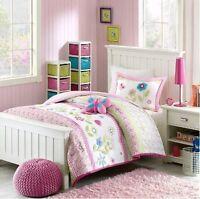 Pink Gingham Girls Flowers Twin Comforter, Sham & Toss Pillow (3 Piece Bedding)