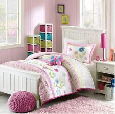 Pink Gingham Girls Flowers Twin Comforter, Sham & Toss Pillow (3 Piece Bedding)