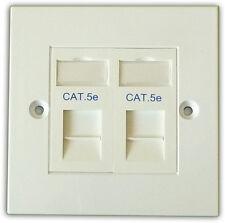CAT5E 2 VIE dati rete OUTLET KIT, FACEPLATE, moduli. LAN Ethernet per montaggio a parete
