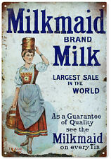 Milkmaid Brand Milk Advertisement Sign