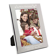 Personalised Silver Merry Christmas 5x7 Photo Frame - Engraved Free - Xmas, Mum