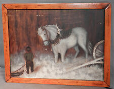 Antique Folk Art Outsider Painting Pony Horse Boy Snow Sled Late 1800's AS IS