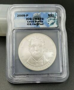2009 P Louis Braille BU Silver Dollar Coin MS70 ICG Perfect Coin Liberty Label