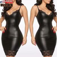Womens Lace Leather Mini Bodycon Dress Ladies Wet Look Party Club Dress Clubwear