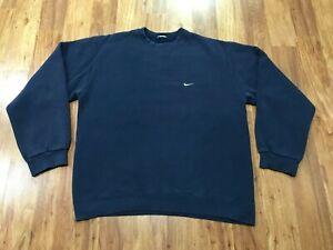 MENS SMALL - Vtg 90s Nike Swoosh Mini Check Faded Blue Pullover Sweatshirt