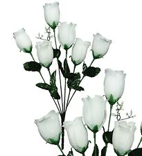 Lot of 144 White Poly Silk Closed Rose Wedding Home Decor Craft Bouquet Flower