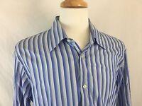 Hugo Boss Button Front Dress Shirt Mens Size 44, 17,1/2 Blue Striped