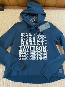 NWT, Harley-Davidson Women's S, Cut-Out V-Neck Pullover Hoodie, Teal, 96208-20VW