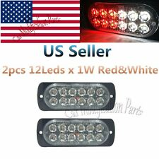 2X12W Bright 12LEDS Red&White Emergency Warning Harzard Strobe Flash Light Bar
