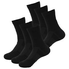 6 Pairs Mens Performance Cotton Cushion Black Crew Athletic Sports Casual Socks