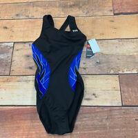 TYR Phoenix Splice Maxfit One Piece Swimsuit Black/Blue  Size 34 B118