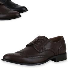 892425 Herren Business Budapester Schnürer Leder-Optik Elegante Schuhe Top