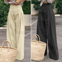 WOMEN HIGH WAIST SIZE 8-26 PLEATED TROUSERS LOOSE WIDE LEG PALAZZO ELASTIC PANTS