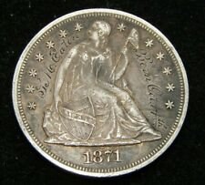 1871 Seated Liberty Dollar XF Details Inscription On Obverse