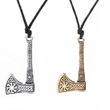 Norse Viking Axe Necklace Pendant Triquetra Knot Odin Amulet Antique Gold Silver