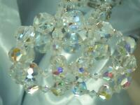 HUGE SOOO Pretty Super Sparkly Long AB Crystal Beaded Vintage 60's Necklace 28d0