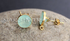 Aqua Chalcedony 10mm Round Faceted 925 Sterling Silver Vermeil Finish Earring