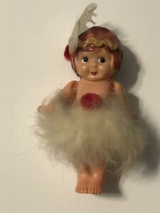 """Vintage Celluloid 4"""" Tall Flapper Girl Doll Strung Arms Feathers Side Glance """"K"""""""