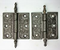 "2 Antique Steeple Tip Cast Iron Eastlake Victorian Door Hinges 3.5"" x 3.5"""