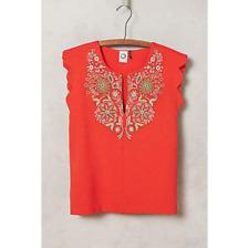 Akemi + Kin Anthropologie Binah Scalloped Shell Pullover Red Top S $88