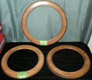 Lot Of 3 Round Wood Mid Century Modern Picture Frames