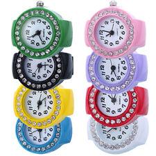 New Lady Girl Creative Fashion Steel Round Elastic Quartz Finger Ring Watch Gift