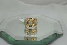 14k Yellow Gold Ring Set with 3-9x7mm Cabochon Cut Green Jade Size 7