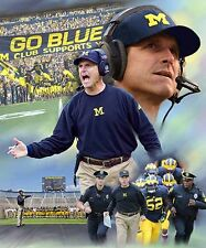 Jim Harbaugh : giclee print on canvas poster painting for autograph B-2930
