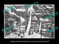 OLD LARGE HISTORIC PHOTO DATCHET BERKSHIRE ENGLAND AERIAL VIEW TOWN FLOOD 1947 1