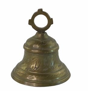 Vintage Engraved Leaf Design Brass Collectible Bell