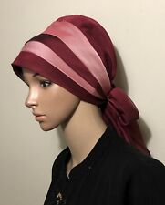 Fancy Hijab Bonnet Scarf Jilbab Lady Turban Chemo Style Easy Slip On Red Maroon