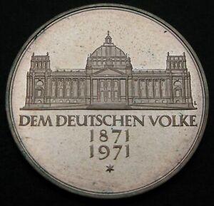 GERMANY 5 Mark 1971 G - Silver - Foundation of German Empire. - aUNC - 607