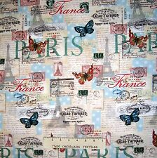 French Fabric - Paris France Butterfly Words Patch Beige - David Textiles YARD