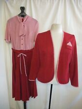 Ladies Outfit Jacket & Dress size S raspberry red polyester, smart, vintage 2018