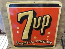 Vintage 1955 Embossed Metal 7up Sign Stout > Antique Old Soda Pop Cola 9645
