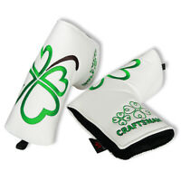 White Leather Putter Head Cover PU Golf Protection Blade Headcover Closure New