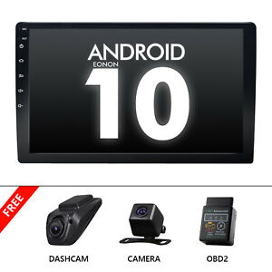 """CAM+OBD+DVR+10.1"""" Android 10 Double Din Stereo Radio Wifi Car GPS Navigation USB"""