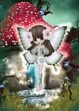 Woodland Fairy cartolina di Compleanno per donne/ragazze, bel Rosso Toadstool CASA qualsiasi OCC
