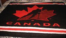 Vintage CANADA hockey player red black white BRINTEX throw blanket cover 50X58